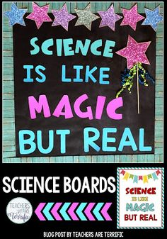 Science and STEM Bulletin Boards Templates for four boards with great ideas for elementary science or STEM displays and projects for classroom teachers Images are include. Science Bulletin Boards, Teacher Bulletin Boards, Science Boards, Boarders For Bulletin Boards, Science Room, Stem Science, Science Labs, Physical Science, Science Education