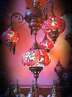 4 Arabian mosaïque lampes, lanternes marocaines, accrochant la lumière, suspendus lampe, lustre, turc lumineuse, lampe suspendue, mosaïque d'éclairage, commandes de lampe