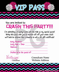 Great way for Direct Sellers to get their guests to bring a friend with them!  https://www.etsy.com/listing/204477190/vip-pass-for-guests-of-31-party-send