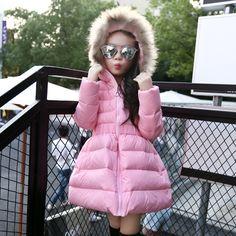 30.00$  Buy here - https://alitems.com/g/1e8d114494b01f4c715516525dc3e8/?i=5&ulp=https%3A%2F%2Fwww.aliexpress.com%2Fitem%2F2016-new-winter-jacket-girls-children-in-the-long-fur-collar-in-children-hooded-Tutu-child%2F32746869259.html - 2016 new winter jacket girls children in the long fur collar in children hooded Tutu child fashion leisure sports jacket