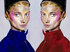 Artist Danny Roberts Painting is Inspired by Vogue Russia December 2008 Editorial in a dark, dark room by Photographer Terry Tsiolis.