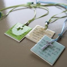 scripture bookmarks or necklaces  may use polymer clay, card stock, wood, etc. for backing.  PPA to glaze.