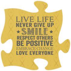 Live Life Quote Puzzle Piece