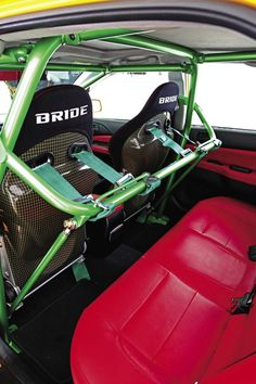 Even with a racing roll cage, passengers can still sit in the back seat or Keoni's Evo, just maybe not comfortably...
