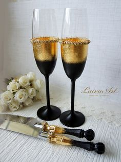 Gold Art Deco Gatsby Style Wedding Champagne Flutes от LaivaArt