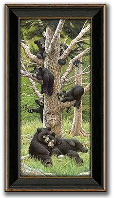 Personalized art - Black Bears Family Tree by Scott Kennedy