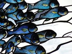 A Flock of Fishes, stained glass installation at Cafe Gandolfi in Glasgow by John Kenneth Clark Stained Glass Paint, Stained Glass Designs, Stained Glass Panels, Stained Glass Projects, Stained Glass Patterns, Leaded Glass, Mosaic Glass, Window Glass, Fused Glass