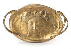 A G. Collin gilt-bronze two-handled figural tray circa 1900