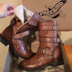 New Freebird track boots 8 cognac Brand new in box. Comfortable, hip and warm freebird leather boots. Sold out! Free People Shoes Winter & Rain Boots