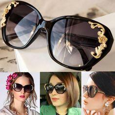 ea39522724be Women's Vintage Gold-tone Roses Carving Oversize Black Frame Sunglasses
