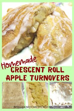 Homemade Crescent Apple Turnovers Easy recipe for a Crescent roll dessert made with cooked apples. Make plenty because everyone loves this homemade pastry dessert. Recipes Using Crescent Rolls, Homemade Crescent Rolls, Crescent Roll Recipes, Banana Bread Recipes, Fruit Recipes, Dessert Recipes, Easy Recipes, Icing Recipes, Trifle Desserts