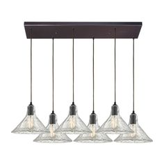 ELK Lighting 10435/6RC Hand Formed Glass Collection Oil Rubbed Bronze Finish