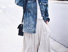 Denim jacket and gray skirt