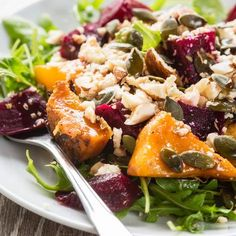 Roasted roots, fennel, and squash with sage, pumpkin seeds and Labneh New Recipes, Healthy Recipes, Recipies, Veggie Tray, Food Inspiration, Potato Salad, Food And Drink, Veggies, Healthy Eating