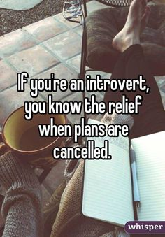 """you're an introvert, you know the relief when plans are cancelled. """"""""If you're an introvert, you know the relief when plans are cancelled. Introvert Personality, Introvert Quotes, Introvert Problems, Infj, Personality Types, The Plan, How To Plan, Mbti, It's Over Now"""