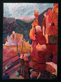Roxanne Lessa - Sunset Point      This tapestry is a vision of Bryce National Park in Utah.  The photo I used is courtesy of Tom Bean.  The textures and colors of the rocks just begged to be interpreted in fabric and thread!    Materials:  Hand dyed cottons, batiks, paint, threads, fused, painted, machine quilted.               43″ x 31″    $4150.00    2011