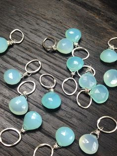 Faceted Briolette Blue Chalcedony Gemstone Bead and Sterling Silver Add A Dangle Charm Oval Jump Ring