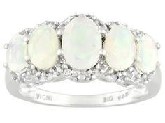 1.76ctw Oval Ethiopian Opal And Round White Topaz Sterling Silver Ring Erv $143.00