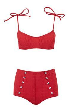 Nicole Button High-Waist Bikini by Lisa Marie Fernandez for Preorder on Moda Operandi