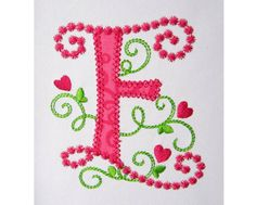 Cute Letter E Alphabet for Lil Princess Hearts  by EmbroideryLand