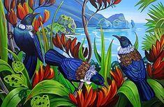 Piha North -med by Irina Velman - prints Tui Bird, Maori Patterns, New Zealand Art, Jr Art, Maori Art, Kiwiana, Framed Prints, Art Prints, Beach Art