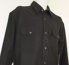 Men Replay Casual Black Shirt Traditional Fit Long Sleeve Made in Italy sz Large #Replay #ButtonFront