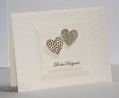 Vanilla & Gold! beautiful--Stamps: Hearts a Flutter, Teeny Tiny Wishes  Paper: Very vanilla  Ink: Versamark  Accessories: Gold Embossing powder, Fancy fan folder, Word Window and modern label punches