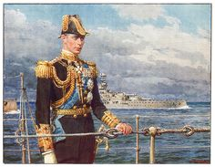 1937 illustration by Fortunino Matania  King George VI. From The Tatler magazine (Coronation number).