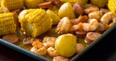 Sheet Pan Shrimp Boil - A true shrimp boil can be kind of an ordeal what with the gigantic pot and the outdoor mess, but our sheet pan… Dinners To Make, One Pot Meals, Main Meals, Shrimp Recipes, Pork Recipes, Shrimp Dishes, Yummy Recipes, Dinner Recipes, Cooking Panda