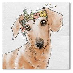 Oliver Gal 'Floral Crown Dachshund' Dogs and Puppies Wall Art Print on Premium Canvas, inch, White Dachshund Quotes, Dachshund Funny, Dachshund Shirt, Dachshund Gifts, Dachshund Love, Dachshund Drawing, Cream Dachshund, Dachshund Tattoo, Puppy Quotes