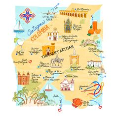 map of Cartagena, Colombia, perfect as part of your destination wedding website or printed invitation! Created by The Event Artisan -  handmade websites and more for all of your events, ideal for destination weddings!