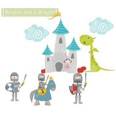 Knights And Dragon Fabric Wall Stickers