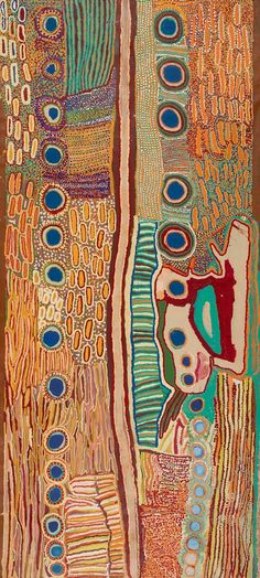 Canning Stock Route and Surrounding Country 2008  Acrylic on canvas. This painting, which was produced by 14 women artists at Kunawarritji (Well 33),  It depicts a number of the waterholes that were made into wells, but many other permanent and ephemeral water sources are also included. When the Canning Stock Route was in use as a droving highway, many of the artists relied on these other waters to ensure their safe passage through this contested land. 292×129 cm