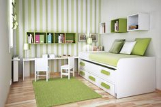 Check Out 30 Space Saving Beds For Small Rooms. A small bedroom can present big design challenges. When there's a depressingly finite amount of square footage to play with, must-haves like a bed and a dresser can be stubborn in their lack of flexibility. Small Space Bedroom, Small Rooms, Small Spaces, Small Desks, Green Kids Rooms, Kids Bedroom Wallpaper, Interior Wallpaper, Space Saving Beds, Toddler Room Decor