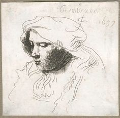 Rembrandt sketch Drawing Studies, Drawing Artist, Drawing Sketches, Art Drawings, Pencil Drawings, Rembrandt Etchings, Rembrandt Drawings, Leiden, Human Face Drawing