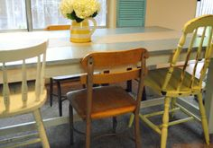 Mis-matched painted chairs...do this