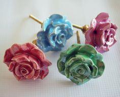 Set of Four Decorative Ceramic Rose Flower by EllimodCreations, $22.00