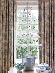 Focus on Small Trees for Big Impact - I love feather trees for showing off ornaments!
