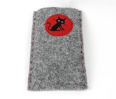 Handyhülle aus Filz mit Katze Phone Cases, Etsy, Hand Sewn, Felting, Threading, Phone Case