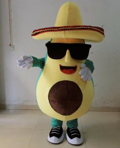 cool mexican avocado mascot costume with a big hat and sunglasses adult size…
