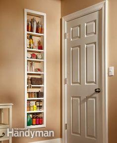 narrow built-in shelf
