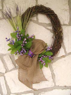 Lavender, Berry, Burlap Front Door Spring Wreath