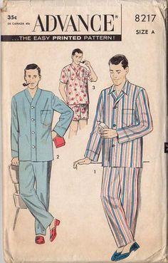Vintage 1950s Advance Sewing Pattern 8217 Men S Pajamas Chest 34 36 Sleepwear