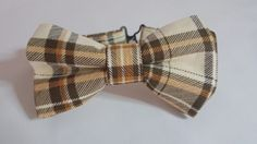 Children's Brown and Ivory Plaid Pretied Bow Tie/ by HouseOfJdawn
