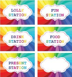 Rainbow Party printable labels for table setting. Rainbow themed kids birthday party. ohbaby.co.nz feature in OHbaby! magazine available in the app store. OHbaby! Interactive Magazine