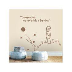"""Vinilos decorativos del principito para paredes infantiles con la frase """"Lo esencial es invisible a los ojos"""". Pegatinas o stickers de paredes del principito."""