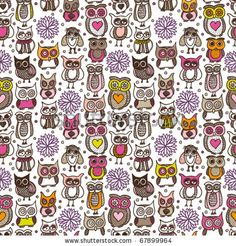stock vector : Seamless doodle owl pattern background in vector
