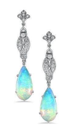 Vintage Opal Diamond Earrings ❤︎
