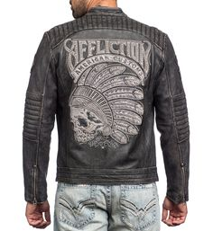 DETAILS • Affliction Leather Jacket • Leather Patches • Padding with Trapunto Detail at Shoulder and Elbows • American Custom Inspired Artwork • Black Wash CONTENT AND CARE • 100% Leather • Machine Wa