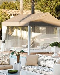 Provide you and your guests with a cool place to relax and enjoy the sun or shade outdoors under the Cabrio Pavilion; complete with an easy retractable roof cover.